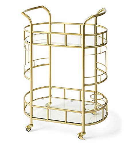 Home Direct Modern Glam Gold Bar Cart Metal Glass Mobile Serving Cart 2 Tier with Wine Rack Bottle Storage