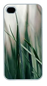 Green grass Polycarbonate Plastic Hard Back Case Cover Protector Compatible with iPhone 4s and iPhone 4 White