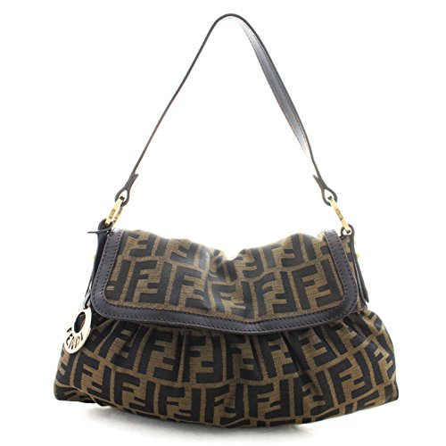 Fendi-Chef-FF-Zucca-Canvas-Leather-Hobo-Shoulder-Bag-8BR445