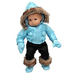 15 inch dolls like Bitty Baby will be warm and toasty in our adorable Ski Wear Outfit in lovely blue! Lovely blue faux fur lined hooded jacket, black fitted pants perfect to tuck into the matching blue faux fur trimmed boots. Detachable hood ...