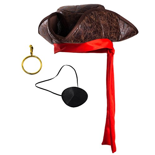 [Tigerdoe Pirate Hat - 3 Pc Set - Pirate Hat and Eye Patch - Pirate accessories - Pirate Costumes For Kids] (Kids Costumes Accessories)
