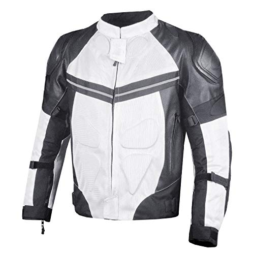 PRO LEATHER & MESH MOTORCYCLE WATERPROOF JACKET WHITE WITH EXTERNAL ARMOR S ()