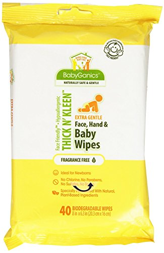 BabyGanics Thik N' Kleen Extra Gentle Face, Hand an Baby Wipes 480 Count (Case of 12 Packages with 40 wipes in each Package)