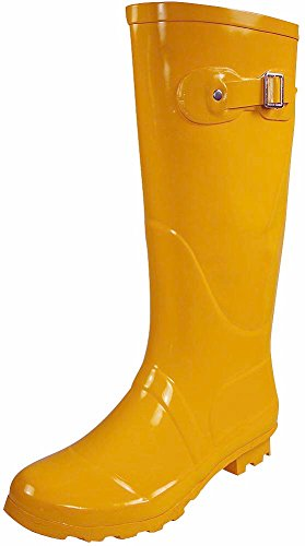 NORTY - Womens Hurricane Wellie Solid Gloss Hi-Calf Rain Boot, Yellow 38745-9B(M) US