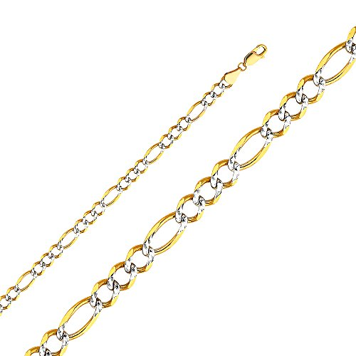 Wellingsale 14k Yellow Gold SOLID 5.5mm Polished Figaro 3+1 Open White Pave Diamond Cut Chain Necklace - (Open Figaro Chain)