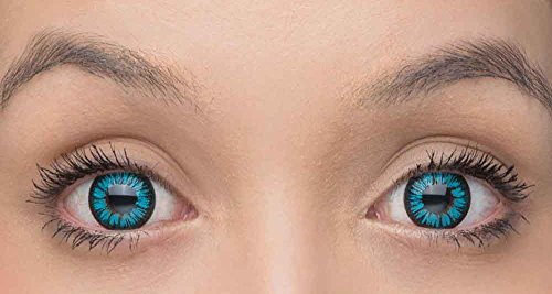 Blaue Kontaktlinsen Sky - farbige / bunte Kontaktlinsen als JAHRESLINSEN ohne Stärke+ gratis Behälter