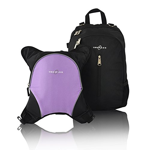 Rio Diaper Backpack with Baby Bottle Cooler and Changing Mat, Shoulder Baby Bag, Food Cooler, Clip to Stroller (Black/Purple) - Obersee
