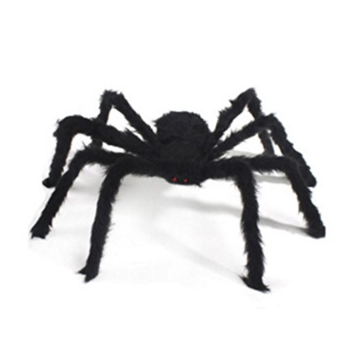 JIAHUI Halloween Decoration 1.7ft Long Plush Spider Virtual Realistic Hairy Spider Black ()