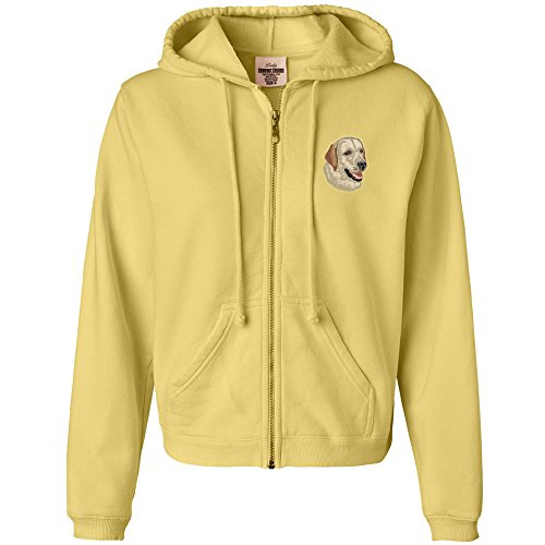 Cherrybrook Dog Breed Embroidered Womens Hoodies - X-Large - Butter - Labrador (Retriever Embroidered Sweatshirt)