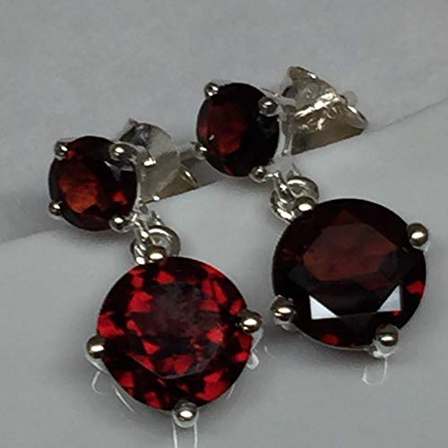 Natural 4ct Pyrope Garnet 925 Solid Sterling Silver Designer Earrings 18mm long