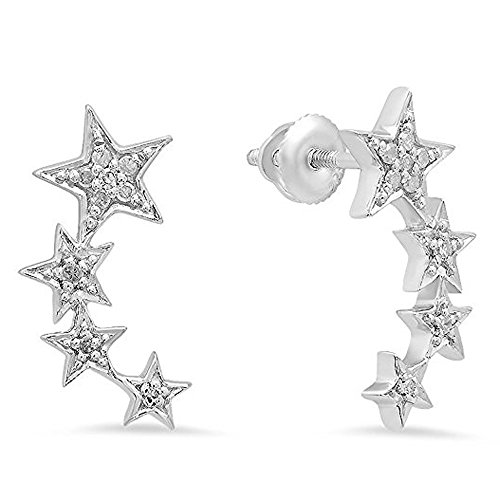 0.10 Carat (ctw) Sterling Silver Round White Diamond Ladies Stars Shaped Climber Earrings 1/10 CT