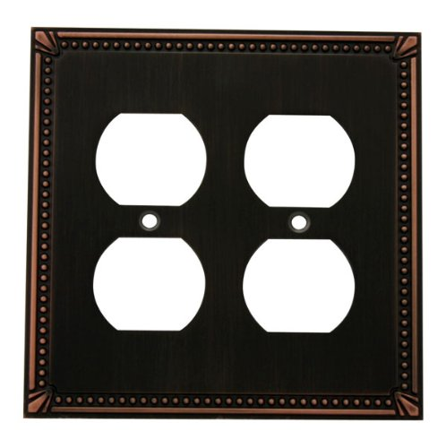 Outlet Cabinet Bronze - Cosmas 44013-ORB Oil Rubbed Bronze Double Duplex Electrical Outlet Wall Plate