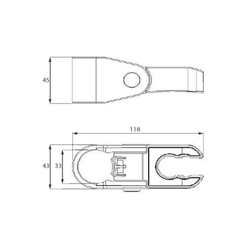 Curseur coulisse ergonomique blanc pour barre de douche diam/ètre 32 mm PMR Disflex