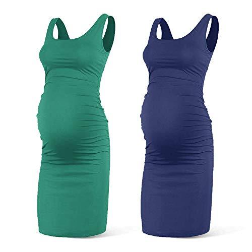 Rnxrbb Women Summer Sleeveless Maternity Dress Pregancy Tank Scoop Neck Mama Clothes Casual Bodycon Clothing,Navy+Green-XL