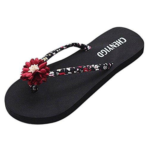 Sandales Femmes Vintage Plage 2019 Pour Sandales Ihengh Sandale Toe Fille Pour Casual Femmes Pour Rouge Peep Femmes Pantoufle D'été tqwYH0