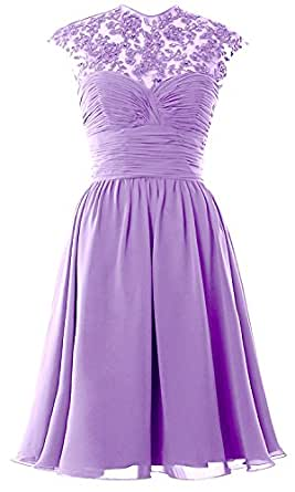 Women High Neck Cap Sleeve Lace Short Bridesmaid Dress Wedding Party Ball Gown (2, Lavender)