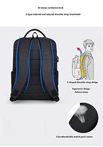 Wjp nero e laptop carica viaggio borsa usb borsa da grigio cm tela studente da impermeabile donna chiaro Zaino esterno uomo di FqRnE5x