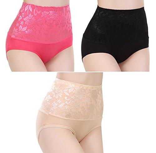 scennek Womens Sexy 3-Pack Briefs Shaping Stretch Underwear