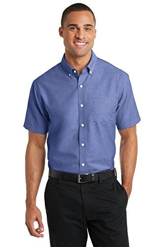 Port Authority S659 Men's Short Sleeve SuperPro Oxford Shirt Navy 2XL