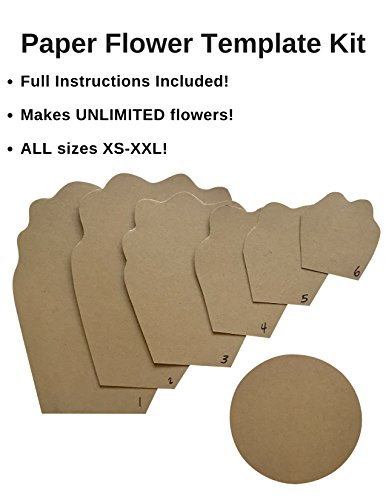 Paper Flower Template Kit - Make Your Own Paper Flowers - Paper Flowers Decoration - Make Unlimited Flowers - DIY Do It Yourself - Make All Sizes (Peony) - 3D Flower - Flower Backdrop Decor (Diy Flower Backdrop)
