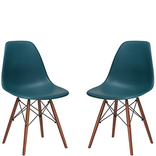 Poly and Bark Vortex Side Chair Walnut Legs, Teal, Set of 2