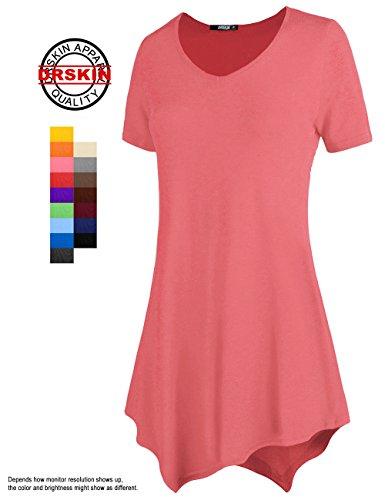 [DRSKIN] WS05 Women Handkerchief Hem Short Sleeve Long Tunic Top. (XL, Coral pink)