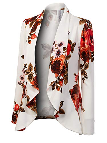 MixMatchy Women's [Made in USA] Solid Formal Style Open Front Long Sleeves Blazer (S-3X) White Flower Print M