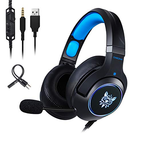 Gaming Headset-ONIKUMA Surround Sound PS4 Headphones with Retractable Mic Works with Xbox One PC,RGB LED & Lightweight Soft Earmuffs & Volume Control(Blue)