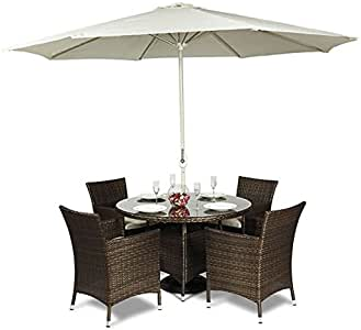 Colorado Muebles de jardín de mimbre redonda de cristal mesa de comedor y 4 sillas + sombrilla exterior Patio Porche (120 x 120 x 75 cm): Amazon.es: Jardín