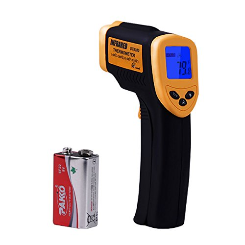 KT THERMO Infrared Thermometer Non-Contact Digital Laser Temperature Gun Bright LCD Display with Backlight, Measuring Range-58 to 716℉(-50 to 380℃)