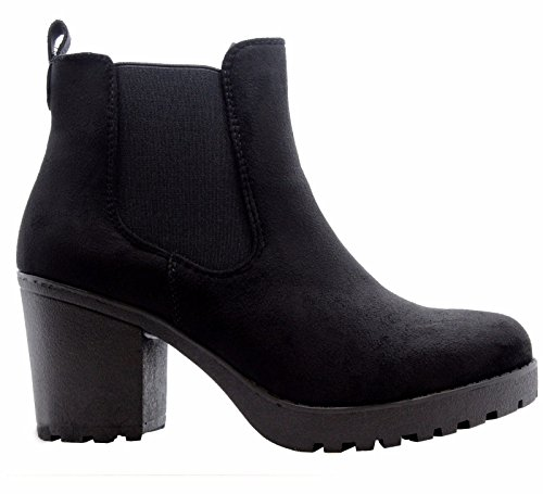 Ankle Block Black Office Chunky Boots STYLES School Suede Sole SAUTE Grip Heels 3 Size Chelsea Shoes Ladies Womens 8 aw0Haqx4t