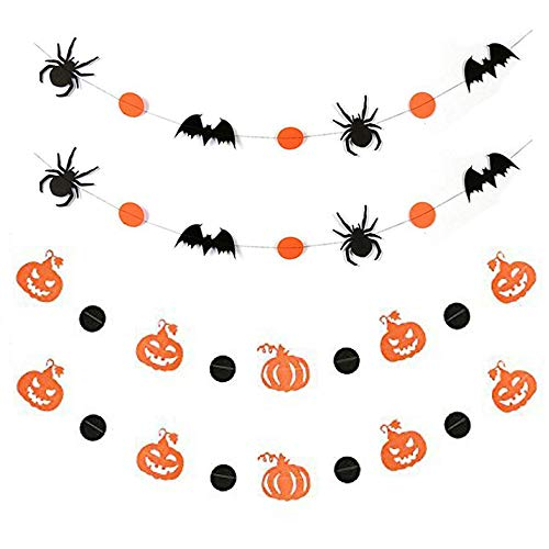 MyRalice 4pcs Halloween Paper Garland Hanging Decorations,Spiders/Bats/Pumpkins-Creepy Indoor Party, Kids Class Room, Haunted House -