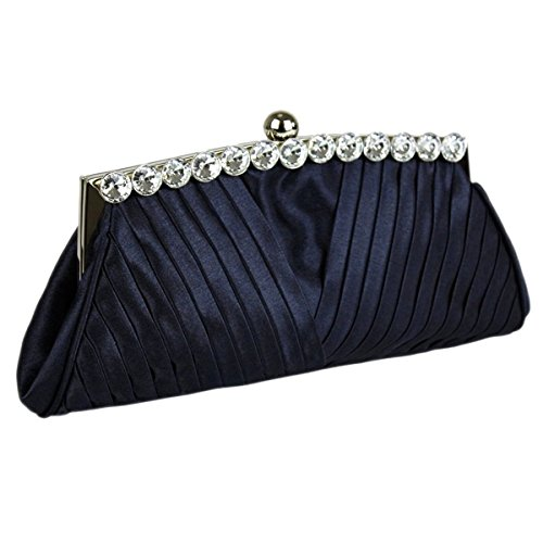 Decoration And Prom Clutch Wedding A Chain Top Navy Bag Ruched With Satin Party Handbag Evening Bridal Long Crystal 4qBBw8