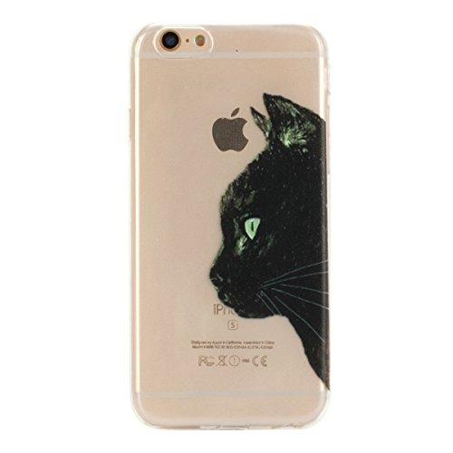 Funda para iPhone 6 6S 4.7, Ukayfe Suave Carcasa Caso Parachoques Diseño pintado Patrón para iPhone 6 6S 4.7,Funda Case Lujo Premium Bling Caja PC Dura Ultra Fina Cubierta Matt Glitter Protectora Caja Cabeza de negro