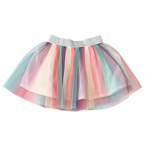 ChunYiYi  Baby Clothing Girls Tutu Skirt Dance Ballet Elastic Waist Mesh Colorful Pettiskirt Fancy Costume Princess Dress (80, Multicolor)]()