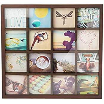 Umbra Gridart 4x4 Picture Frame – DIY Gallery Style Multi Picture Photo Collage Frame, Displays 16 Square 4 by 4 inch Photos, Illustrations, Art, ...