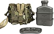 Jolmo Lander Titanium Military Canteen Kit 1L with 0.75L/0.4L Canteen Cup Nylon Pouch Army Style Water Bottle