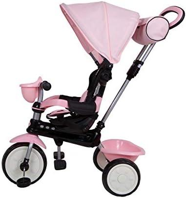 Mondial Toys Triciclo 4in1 con MANIGLIONE DIREZIONABILE E CAPPOTTINA Parasole 7811 Pink