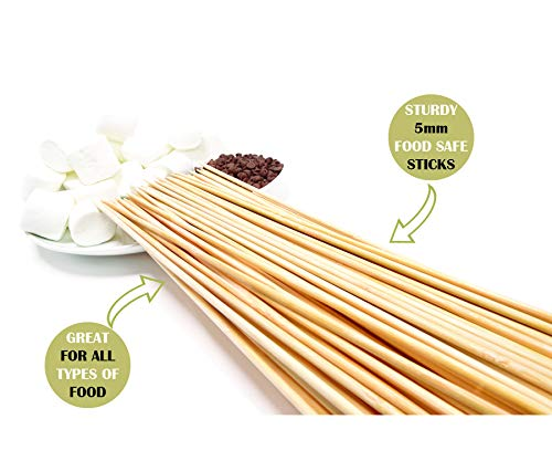 Bamboo Marshmallow Smores Roasting Sticks 30 Inch 5mm Thick Extra Long Heavy Duty Wooden Skewers, 100 Pieces. Perfect for Hot Dog Kebab Sausage Veggies 100% Biodegradable. Great Campfire Accessories -