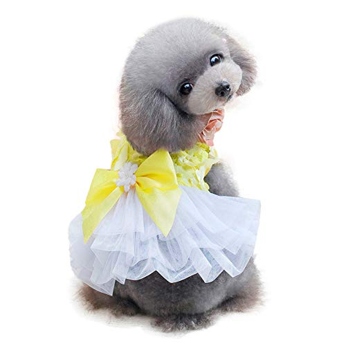 Pet Denim Dress with Cute Bow-Knot Comfy Vest Skirt Lace Trim Tutu Summer Spring Clothes for Cats and Small Dogs]()