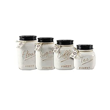 Young's 4 Piece Ceramic Country Canister Set, 10.75