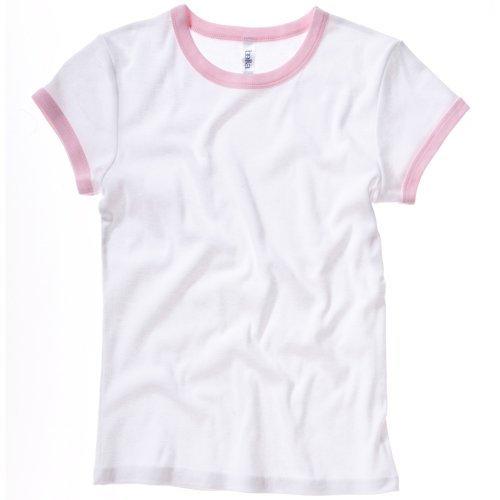 Bella + Canvas Womens/Ladies Baby Rib Short Sleeve Ringer T-Shirt (8-10 US) (White/ Pink)