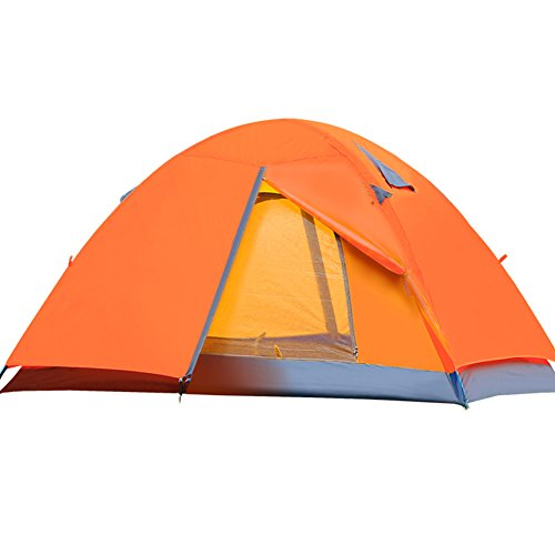 Outry Camping Tent, 2 Person Double Layer Aluminum Poles Lightweight Hiking Tent (Orange)