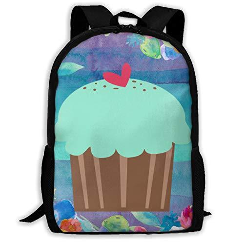 Mint Cream Cupcake Vector Backpack Women 3D Print Daypacks For Men