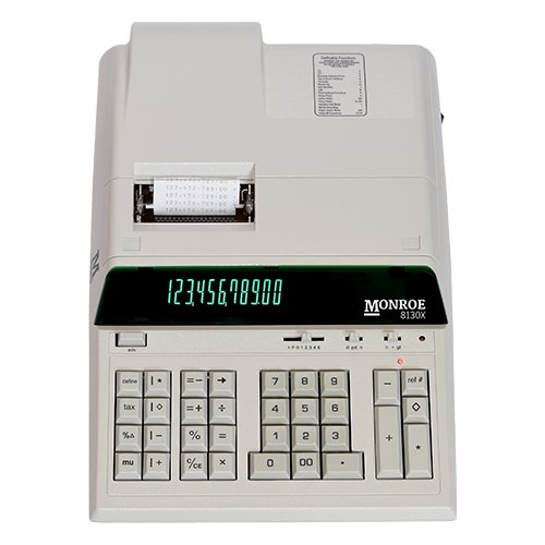 Monroe 8130X Ivory 12-Digit Print/Display Heavy-Duty Calculator, Extended Life Calculator Body From Monroe by Monroe Systems for Business