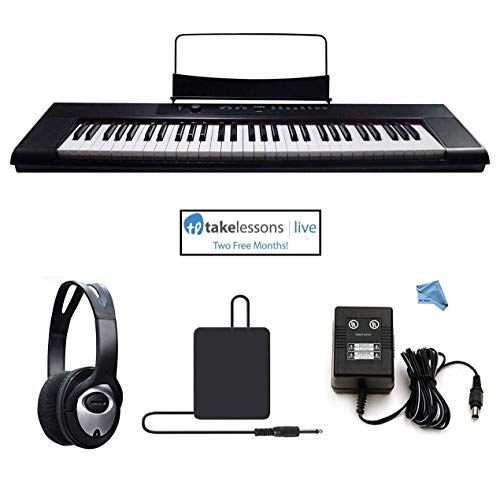 Artesia A-61 61 Key Semi-Weighted Action Keyboard Piano Bundle for Beginners and Students – 2 Months Piano Lessons – Stereo Headphone – Dust Cover – Sustain Pedal – Power Supply