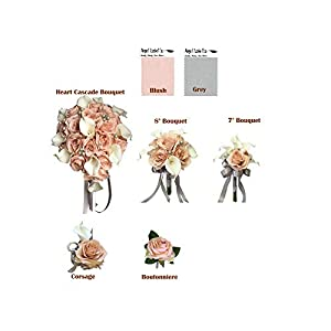 Angel Isabella, LLC Build Your Wedding Package-Keepsake Long Lasting Artificial Flower in Blush Grey Bouquet Corsage Boutonniere 25