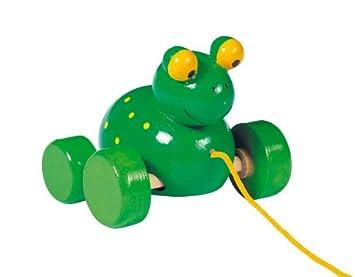 Holzspielzeug Ziehspielzeug ziehtier Frosch Holz Ziehfrosch