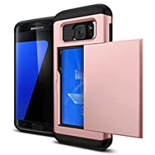 For Galaxy S6 Case,JOBSS Hybrid Anti-scratch Anti-drop Shock Absorption Card Pocket Wallet Card Slot Heavy Duty Protection Protective Shell Rubber Bumper Case for Samsung Galaxy S6 Rose Gold