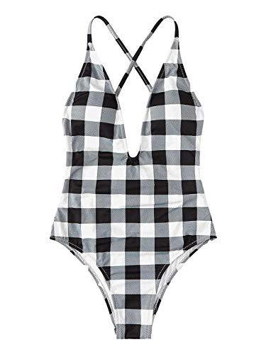 SOLY HUX Women Sexy Push up Bikini One Piece Lace up Back Monokini Swimsuit Plaid - Piece One Plaid